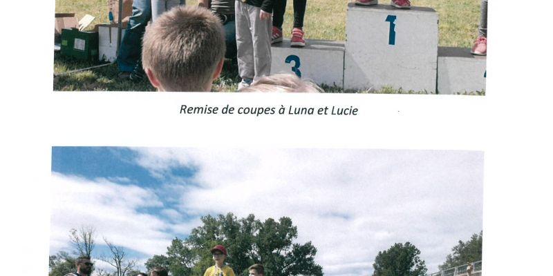 Remise de coupes à Luna et Lucie et Podium des CM1 garçons