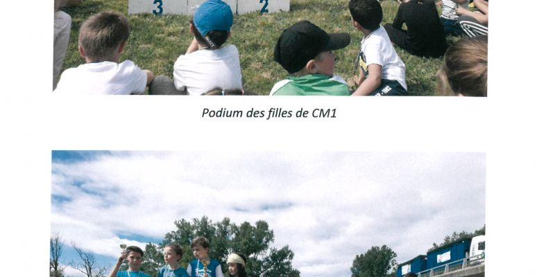 Les podiums des CM1 filles et CM2 garçons